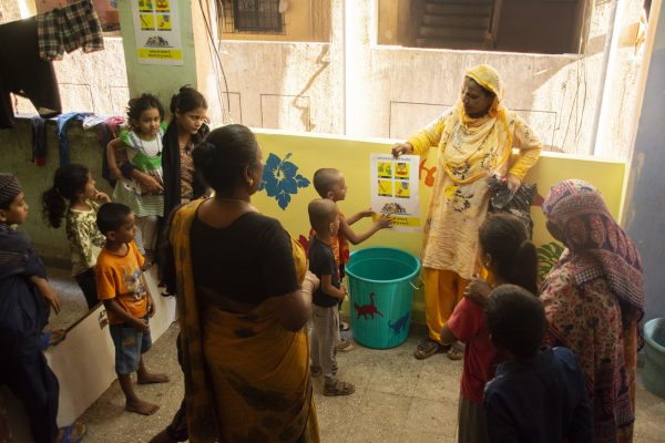 Residents gather to understand the waste segregation process to be undertaken on every floor