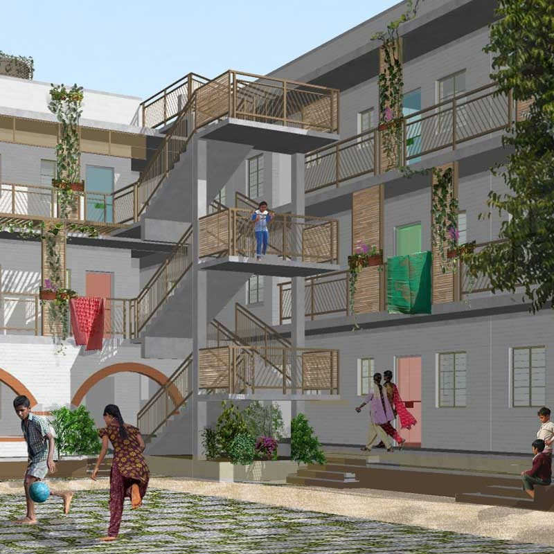 Digital visualisation of a courtyard, with children playing and people sitting around, surrounded by buildings on two sides