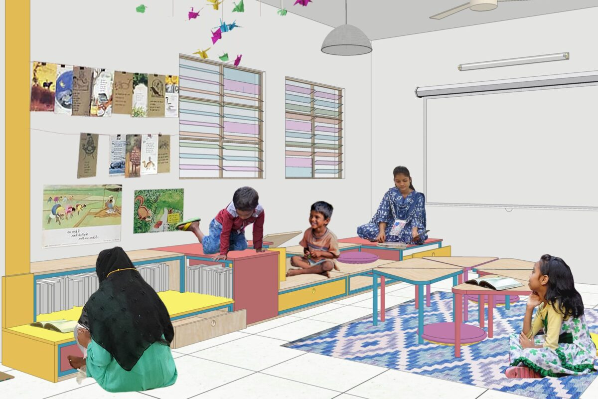 Rendering of the proposed library space in Natwar Parekh