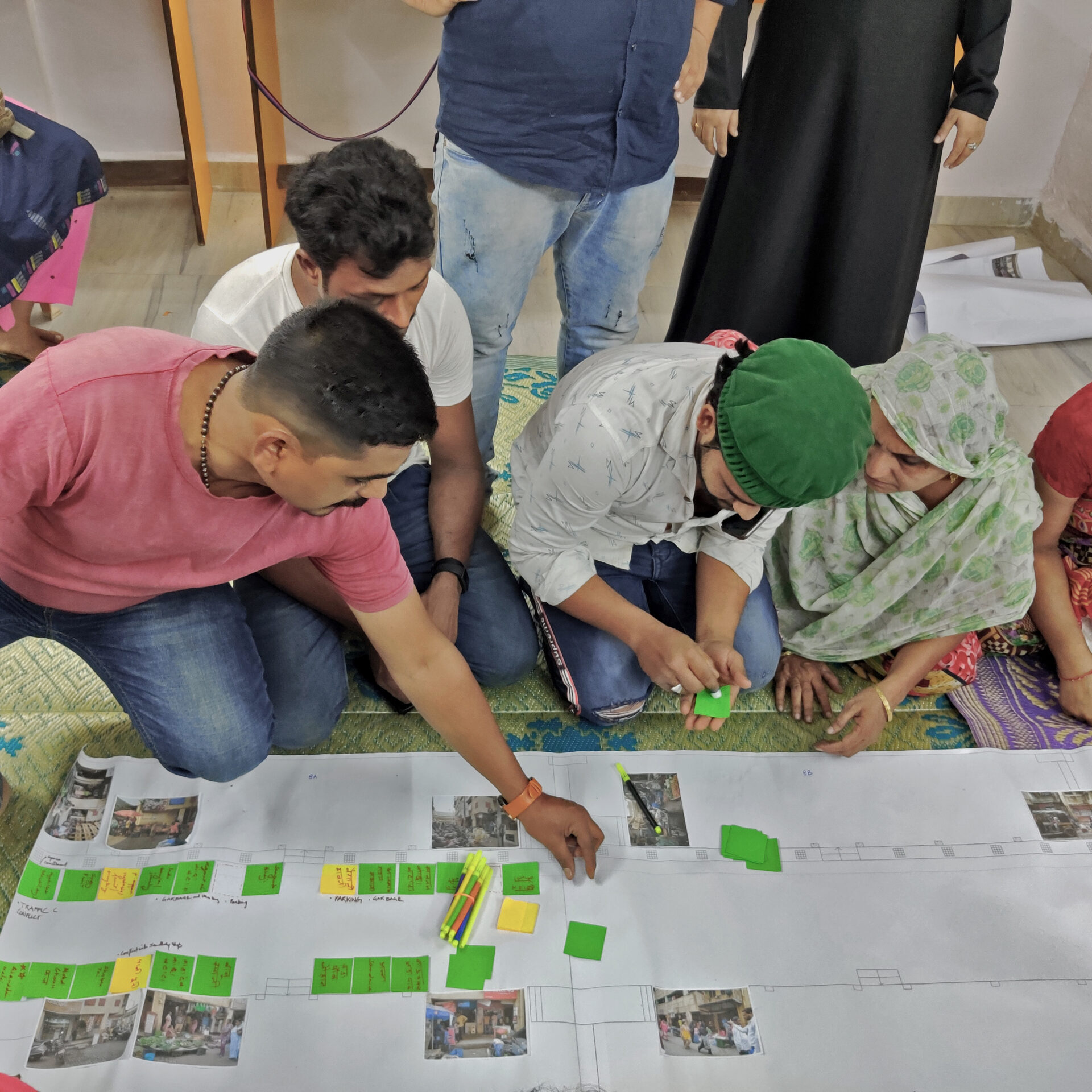 Participatory design workshop underway with the street vendors of Natwar Parekh Colony